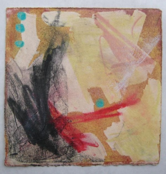"""6""""x6"""". mixed media on paper. $50"""