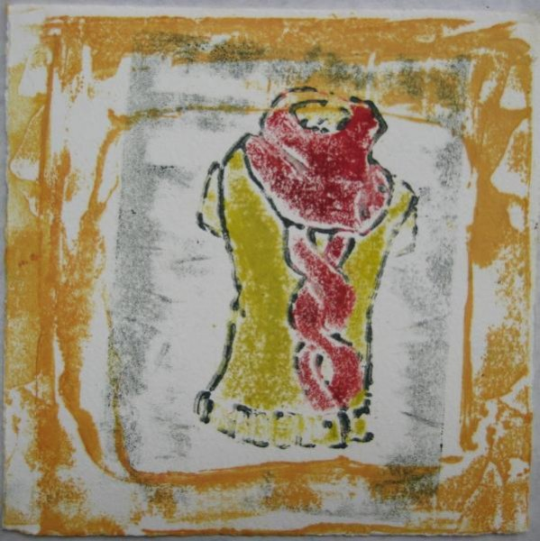 """6""""x6"""". collagraph print on paper. $40"""